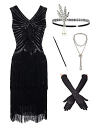 cheap -The Great Gatsby Vintage 1920s Vacation Dress Flapper Dress Outfits Masquerade Women's Tassel Fringe Costume Black Vintage Cosplay Party Prom / Gloves / Headwear / Necklace / Bracelets & Bangles