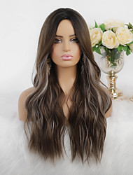 cheap -Synthetic Wig Cosplay Wig Highlighted Hair Natural Wave Silky Wavy Middle Part Wig Long Dark Brown Synthetic Hair 26 inch Women's Heat Resistant New Arrival Highlighted / Balayage Hair Brown Mixed