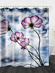 cheap -Flowers under White Clouds Print Waterproof Fabric Shower Curtain for Bathroom Home Decor Covered Bathtub Curtains Liner Includes with Hooks