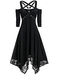 cheap -Halloween Women's A-Line Dress Knee Length Dress - Half Sleeve Solid Color Lace Patchwork Fall V Neck Hot Vintage Slim 2020 Black Blue Purple Green S M L XL XXL