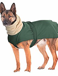 cheap -waterproof dog winter jacket with turtleneck scarf,pets cold weather coats with soft warm fleece lining,windproof snowsuit outdoor apparel for medium large dogs,green