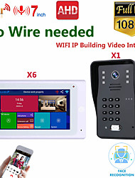 cheap -MOUNTAINONE SY706W008WF11 7 Inch Wireless WiFi Smart IP Video Door Phone Intercom System With One 1080P Wired Doorbell Camera And 6x Monitor Support Remote Unlock