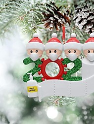 cheap -Personalized Quarantine Family 2020 Christmas Ornament Family of 3 Pcs Gifts for Grandkids Co-Workers Friends (WE Customize for You, Family of 2~4,10cm*8cm)