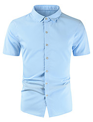 cheap -Men's Shirt Solid Colored Short Sleeve Daily Tops Cotton Casual Light Blue Wine Red White