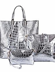 cheap -women stylish 3 piece bag set, alligator pattern lash package pu leather shoulder tote purse bag - silver