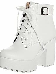 cheap -women's platform block heel oxford boot(9, white)