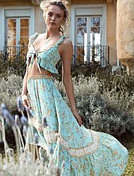 cheap -Women's Basic Geometric Two Piece Set Blouse Shirred Cami Top Skirt Print Tops