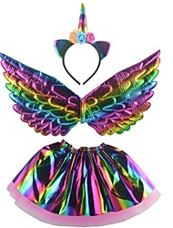 cheap -Unicorn Wings Halloween Props Girls' Movie Cosplay Headpieces Stage Props Golden Silver Rainbow Skirts Wings Headwear Christmas Halloween Carnival Plastics