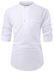 cheap -(nknkn381 mens china collar henley neck roll-up sleeve basic linen shirts white us xxxl(tag size 3xl)