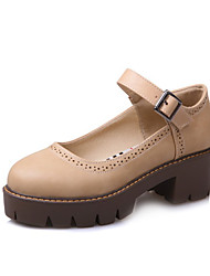cheap -Women's Heels Chunky Heel Round Toe Casual Daily Buckle Solid Colored PU Walking Shoes Almond / Black / Gray
