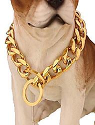 "cheap -custom ultra strong 19mm slip chain dog collar - for pit, gold, size 22"" collar"