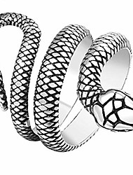 cheap -stainless steel retro vintage snake stye cocktail party statement biker ring (silver, 13)