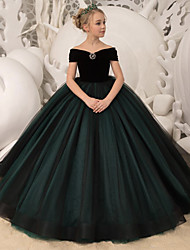 cheap -Princess / Ball Gown Sweep / Brush Train Party / Wedding Flower Girl Dresses - Tulle / Velvet Long Sleeve Off Shoulder with Bow(s) / Crystal Brooch