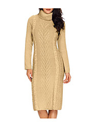 cheap -Women's Sweater Jumper Dress Knee Length Dress - Long Sleeve Solid Color Knitted Fall Winter Casual Slim 2020 Black Khaki Gray S M L
