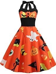 cheap -Halloween Women's A-Line Dress Knee Length Dress - Sleeveless Cat Pumpkin Bat Print Backless Patchwork Button Summer Halter Neck Vintage Slim 2020 White Black Blue Orange S M L XL XXL