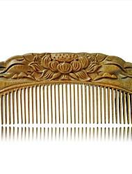 cheap -handmade carved natural sandalwood hair comb - anti-static sandalwood hair comb beard brush rake comb handmade engraving lotus