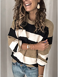 cheap -Women's Knitted Striped Pullover Cotton Long Sleeve Sweater Cardigans Crew Neck Round Neck Fall Winter Blue Yellow Blushing Pink