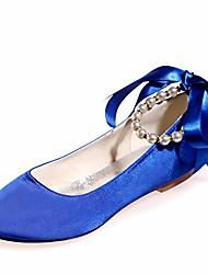 cheap -women flat satin round toe wedding ballet bridal shoes ribbon tie ankle strap party dress shoes-royal blue-9.5-10