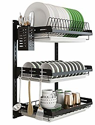 cheap -hanging dish drying rack wall mount dish drainer,3 tier junyuan kitchen plate bowl spice organizer storage shelf holder with drain tray with 3 hooks,stainless steel black coating (3 tier, 21.8)