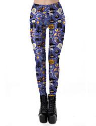 cheap -Women's Exaggerated Breathable Slim Halloween Leggings Pants Plants Skull Ankle-Length Print High Waist Purple