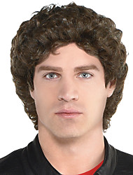 cheap -Cosplay Wig Mike Rider Curly Asymmetrical Wig Short Dark Brown Synthetic Hair Men's Cosplay Exquisite Brown