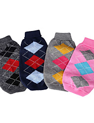 cheap -Dog Cat Sweater Plaid / Check Minimalist Casual / Daily Winter Dog Clothes Puppy Clothes Dog Outfits Grid Pink Dark Blue Costume for Girl and Boy Dog Polyester XS S M L
