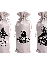 cheap -Halloween Party Halloween Linen Wine Holder Packaging Bag Gift Storage Bag Linen Drawstring Pocket