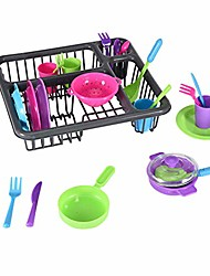 cheap -kids kitchen pretend play dishes playset, kitchen wash & dry tableware dish rack toy with drainer toddler dishes and utensils dinnerware pretend play set (as show)