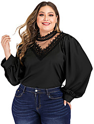 cheap -Women's Plus Size Blouse Shirt Solid Colored Long Sleeve Cut Out Lace Trims V Neck Tops Loose Basic Basic Top Black