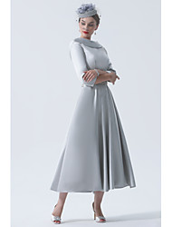 cheap -A-Line Mother of the Bride Dress Elegant Vintage Plus Size Bateau Neck Tea Length Satin 3/4 Length Sleeve with Beading 2020 Mother of the groom dresses