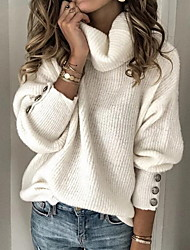 cheap -Women's Solid Color Plain Pullover Long Sleeve Sweater Cardigans Turtleneck Fall Winter White Black Blue
