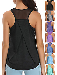 cheap -Women's Yoga Top Racerback Black Green Sky Blue Royal Blue Dark Purple Spandex Fitness Gym Workout Running Tank Top T Shirt Sport Activewear 4 Way Stretch Breathable Quick Dry Moisture Wicking High
