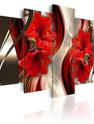 cheap -framed canvas wall art red flower print painting modern contemporary picture home decor crimson floral 5 panels extra large hd giclee artwork framed 60x30