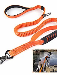 cheap -heavy duty dog leash especially for large dogs up to 150lbs, 6 ft reflective dog walking training shock absorbing bungee leash with car seat belt buckle, 2 padded traffic handle for extra control