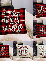 cheap -1 Set of 6 pcs Christmas Series Decorative Linen Throw Pillow Cover 18 x 18 inches 45 x 45 cm