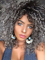 cheap -Synthetic Wig Afro Curly with Baby Hair Wig Medium Length Grey Synthetic Hair 40-44 inch Women's African American Wig Gray