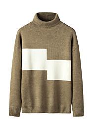 cheap -Men's Stylish Basic Oversized Knitted Color Block Pullover Acrylic Fibers Long Sleeve Sweater Cardigans Turtleneck Fall Winter Black Khaki Beige