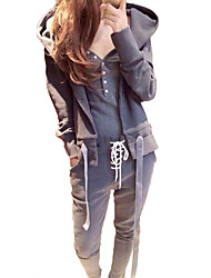 cheap -Women's 2 Piece Set Artistic Style V Neck Cotton Solid Color Sport Athleisure Sweatshirt and Pants Clothing Suit Long Sleeve Warm Soft Comfortable Everyday Use Daily Exercising / Winter / 3pcs / pack
