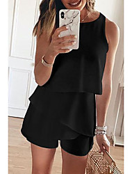 cheap -Women's Basic White Black Red Romper Solid Colored Color Block