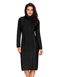 cheap -Women's Sweater Jumper Dress Knee Length Dress - Long Sleeve Solid Color Fall Winter Casual Slim 2020 Black Yellow Gray S M L