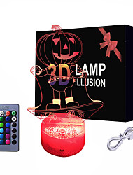 cheap -Pumpkin 3D Night Lights Bedside Lamp Lantern Toy for Kids Smart Touch 3D Illusion Desk Table Lamp 16 LED Color Changing Lamp Halloween Pumpkin Costume Accessory