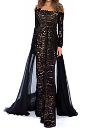 cheap -Jumpsuits Beautiful Back Floral Engagement Formal Evening Dress Illusion Neck Long Sleeve Floor Length Lace Tulle with Appliques 2021
