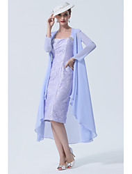 cheap -A-Line Mother of the Bride Dress Plus Size Elegant Sweetheart Neckline Knee Length Chiffon Lace Sleeveless with Ruffles 2021