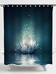 """cheap -magic lotus floral shower curtain, glowing waterlily floral floating on pond water artwork for oriental zen spa bathroom decor, fairytale gifts for women and girls, dark teal, 72"""" w x 96"""" l"""