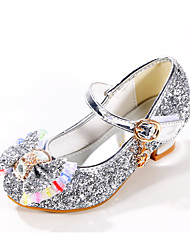 cheap -Girls' Heels Tiny Heels for Teens Princess Shoes Halloween PU Sequins Kids Daily Party & Evening Bowknot Sequin Blue Pink Gold Summer