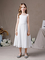 cheap -A-Line Jewel Neck Ankle Length Chiffon Junior Bridesmaid Dress with Pleats