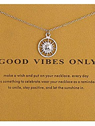 cheap -friendship compass necklace good luck butterfly pendant chain necklace with message card gift card for women girl… (silver sun)