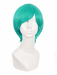 cheap -12 inch/30cm fashion cosplay costume men short straight wig (light sea green)