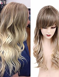 cheap -Human Hair Blend Wig Long Body Wave With Bangs Blonde Party Women Hot Sale Capless Women's Medium Brown / Light Blonde 22 inch / Ombre Hair