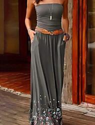 cheap -Women's Sheath Dress Maxi long Dress - Sleeveless Solid Color Summer Strapless Elegant Slim 2020 Black Purple Gray S M L XL XXL 3XL